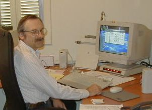 author in his office, Nicosia, Cyprus, 2001