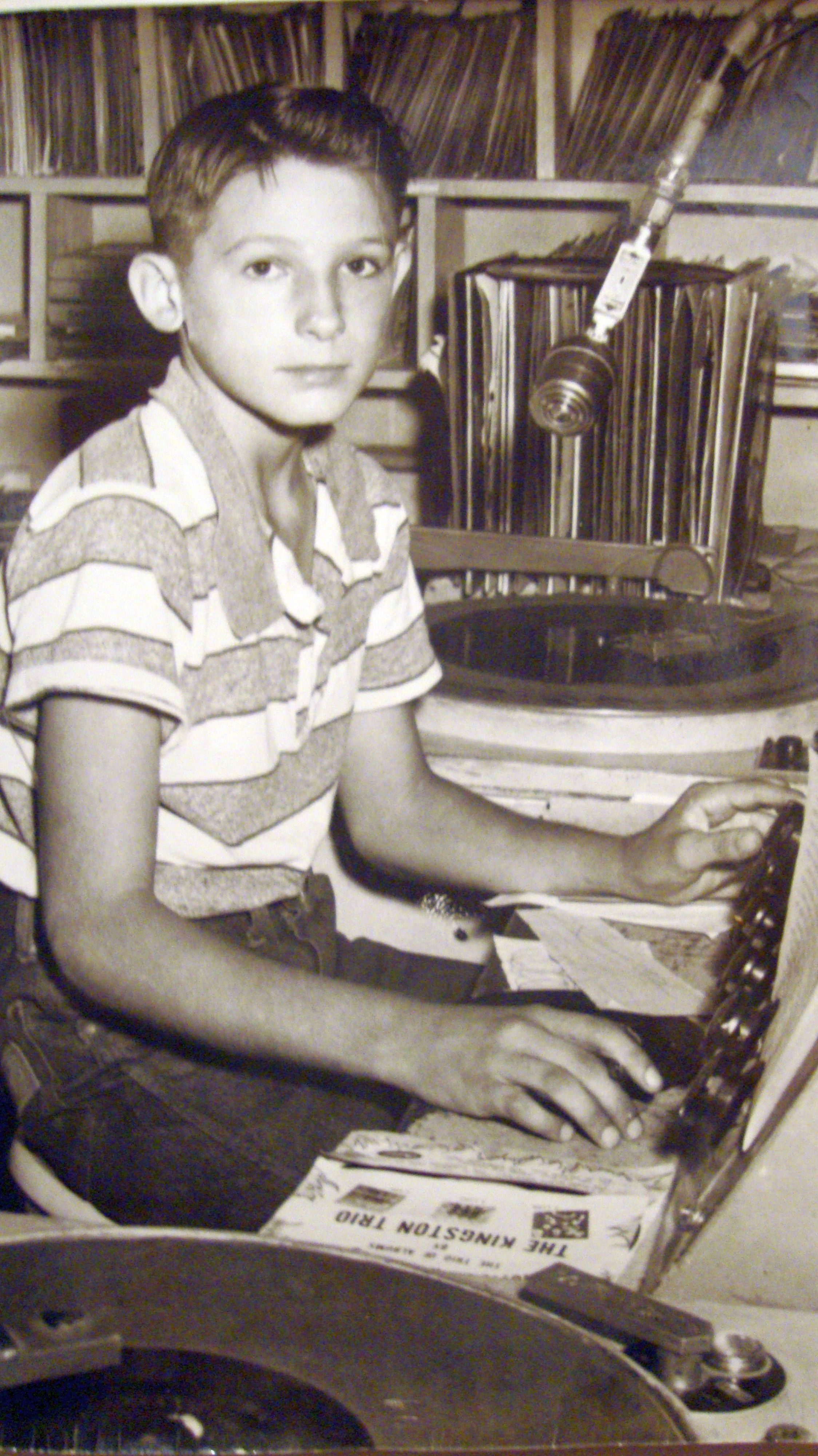 OBJ - World's Youngest DJ at age 9 - pictured here in 1959 at age 11 - KOLJ, Quanah, Texas